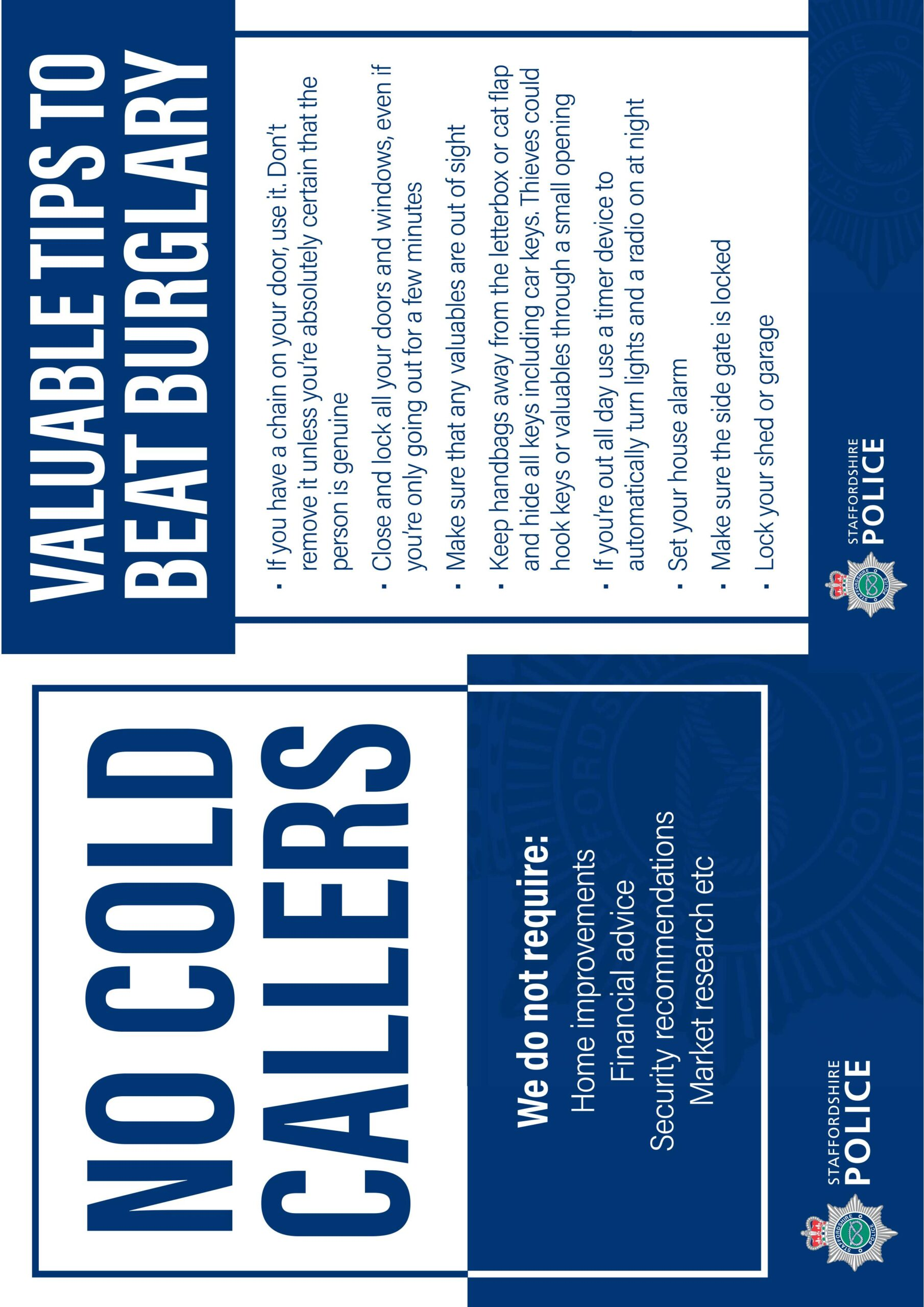 No cold callers – downloadable card for domestic use