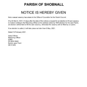 Notice of Vacancy in the Office of Councillor
