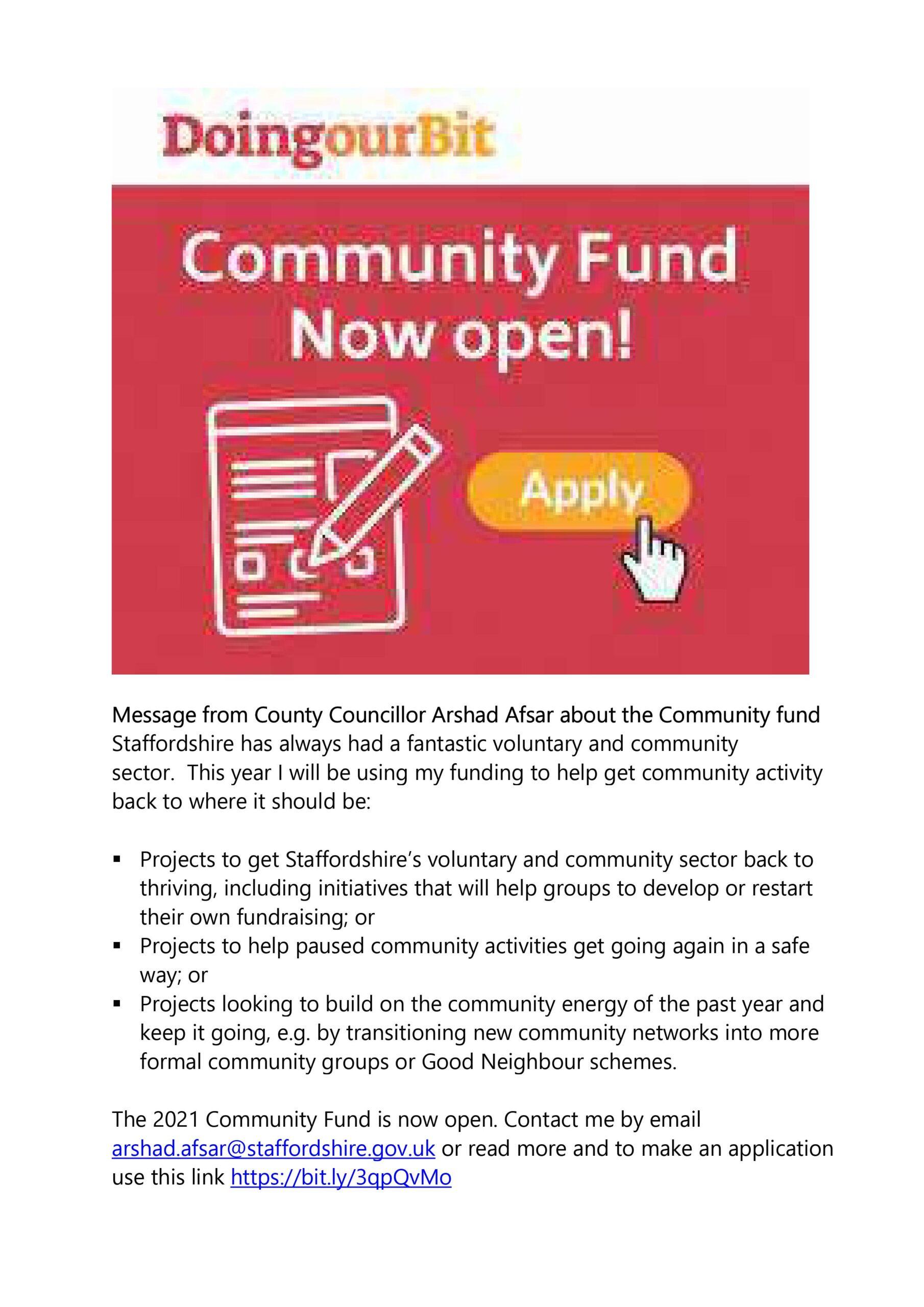 Cllr Afsa – Community Fund message